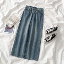 Jeans Spring 2021 blue S,M,L trousers High waist Wide legged trousers routine 18-24 years old Zipper, button, multiple pockets Cotton denim 96% and above