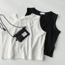 Vest sling Spring 2021 White, black M, L singleton  have cash less than that is registered in the accounts Self cultivation commute I-shaped Solid color 18-24 years old 96% and above polyester fiber thread