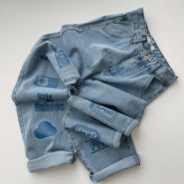 Jeans Spring 2021 blue S,M,L trousers High waist Straight pants routine 18-24 years old Zipper, button, multiple pockets Cotton denim Dark color 96% and above