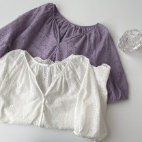 shirt White, purple Average size Spring 2021 cotton 51% (inclusive) - 70% (inclusive) Short sleeve commute Regular V-neck Single row multi button routine Solid color 18-24 years old Straight cylinder Korean version Button, lace, hollow out polyester cotton