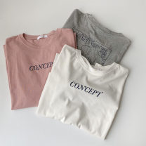 T-shirt White, gray, pink Average size Spring 2021 Short sleeve Crew neck easy Regular routine commute cotton 96% and above 18-24 years old Korean version classic Cartoon, animation, letters printing