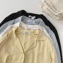 shirt Black, blue, yellow, white Average size Spring 2021 cotton 51% (inclusive) - 70% (inclusive) Long sleeves commute Regular tailored collar Single row multi button shirt sleeve Solid color 18-24 years old Straight cylinder Korean version Button cotton