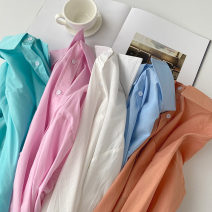 shirt Lake blue , wathet , white , orange , Pink Average size Summer 2021 cotton 51% (inclusive) - 70% (inclusive) Long sleeves commute Regular Polo collar Single row multi button shirt sleeve Solid color 18-24 years old Straight cylinder Korean version Button