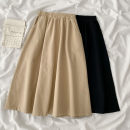 skirt Spring 2021 Average size Black, Khaki Mid length dress commute High waist A-line skirt Solid color Type A 18-24 years old 51% (inclusive) - 70% (inclusive) other cotton fold Korean version