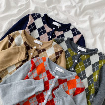 sweater Spring 2021 Average size Dark grey, light grey, sapphire, khaki Long sleeves Cardigan singleton  Regular acrylic fibres 95% and above Crew neck Regular commute routine diamond Straight cylinder Regular wool Keep warm and warm 18-24 years old Button acrylic fibres Single breasted