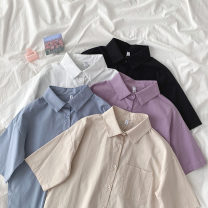 shirt Black, blue, purple, apricot, white S,M,L Spring 2021 cotton 51% (inclusive) - 70% (inclusive) Short sleeve commute Regular Polo collar Single row multi button routine Solid color 18-24 years old Straight cylinder Korean version Button cotton