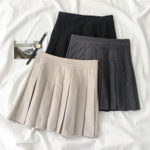 skirt Spring 2021 S,M,L Apricot, grey, black Short skirt commute High waist A-line skirt Solid color Type A 18-24 years old 51% (inclusive) - 70% (inclusive) cotton Korean version