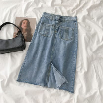 skirt Spring 2021 S,M,L,XL blue Mid length dress commute High waist Denim skirt Type A 18-24 years old More than 95% Denim Korean version