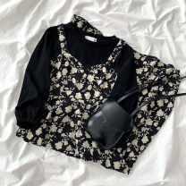 Dress Spring 2021 black Average size Mid length dress Fake two pieces Long sleeves commute Crew neck High waist Broken flowers Socket A-line skirt routine 18-24 years old Type A Korean version printing More than 95% other polyester fiber