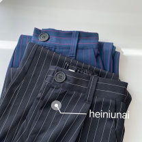 Casual pants White stripe, rose red stripe Average size Spring 2021 trousers Wide leg pants High waist commute routine 18-24 years old 96% and above polyester fiber Korean version pocket polyester fiber