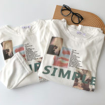 T-shirt White short sleeves, white long sleeves Average size Spring 2021 Crew neck easy Regular routine commute polyester fiber 96% and above 18-24 years old Korean version classic