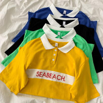 T-shirt Black, yellow, green, blue Average size Summer 2021 Short sleeve Polo collar easy Regular routine commute cotton 96% and above 18-24 years old Korean version youth letter