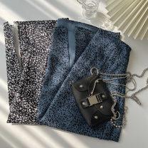 skirt Spring 2021 Average size Black, blue longuette commute High waist A-line skirt Broken flowers Type A 18-24 years old More than 95% other polyester fiber fold Korean version