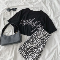 Fashion suit Summer 2021 S. M, average size Picture color skirt, black T-shirt, white T-shirt 18-25 years old 96% and above cotton