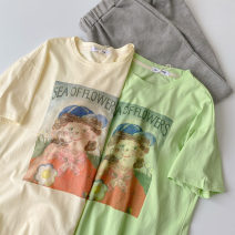 T-shirt Green, apricot Average size Summer 2021 Short sleeve Crew neck easy Regular routine commute cotton 96% and above 18-24 years old Korean version classic