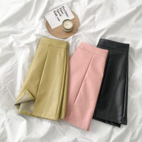 skirt Spring 2021 S,M,L,XL Black, yellow, pink Short skirt commute High waist A-line skirt Solid color Type A 18-24 years old More than 95% other PU zipper Korean version