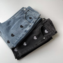 Jeans Spring 2021 Blue, black and gray S,M,L trousers High waist Wide legged trousers routine 18-24 years old Embroidery, zippers, buttons, multiple pockets Cotton denim 96% and above
