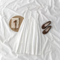Dress Spring 2021 white S,M,L Mid length dress singleton  Sleeveless commute High waist zipper A-line skirt camisole 18-24 years old Type A Korean version 51% (inclusive) - 70% (inclusive) cotton