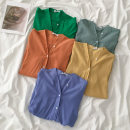 shirt Seaweed green, cream orange, bean green, sky blue, soft yellow Average size Spring 2021 polyester fiber 96% and above Long sleeves commute Regular V-neck Single row multi button shirt sleeve Solid color 18-24 years old Straight cylinder Korean version Button Synthetic fiber
