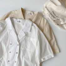 shirt White, apricot Average size Spring 2021 cotton 96% and above Short sleeve commute Regular tailored collar Single row multi button routine Solid color 18-24 years old Straight cylinder Korean version Pocket, button man-made fiber