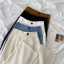 Casual pants Black, blue, apricot, white, coffee Average size Spring 2021 trousers Wide leg pants High waist commute routine 18-24 years old 96% and above other Korean version pocket polyester fiber