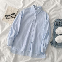 shirt Blue stripe S,M,L Spring 2021 polyester fiber 96% and above Long sleeves commute Regular Polo collar Single row multi button shirt sleeve stripe 18-24 years old Korean version