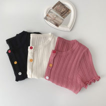 Wool knitwear Spring 2021 Average size Black, red, white Short sleeve singleton  Socket Viscose More than 95% have cash less than that is registered in the accounts routine commute Self cultivation Low crew neck routine Solid color Socket Korean version 18-24 years old Button
