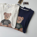 T-shirt White, blue Average size Spring 2021 Short sleeve Crew neck easy Regular routine commute cotton 96% and above 18-24 years old Korean version youth Animal design