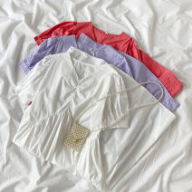 Dress Spring 2021 Purple, white, pink Average size Mid length dress singleton  Short sleeve commute V-neck High waist Solid color Socket A-line skirt routine Others 18-24 years old Type A Korean version Tuck, lace up More than 95% other cotton