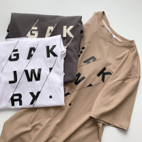 T-shirt White, black, khaki Average size Summer 2021 Short sleeve Crew neck easy Regular routine commute cotton 96% and above 18-24 years old Korean version youth printing