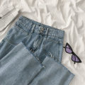 Jeans Spring 2021 blue S,M,L trousers High waist Wide legged trousers routine 18-24 years old Cotton denim 96% and above
