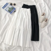 skirt Spring 2021 Average size Black, white longuette commute High waist A-line skirt Solid color Type A 18-24 years old More than 95% polyester fiber Korean version