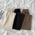 Casual pants Black, brown, apricot S,M,L Spring 2021 Ninth pants Straight pants High waist commute routine 18-24 years old 96% and above polyester fiber Korean version pocket polyester fiber