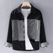 shirt Fashion City Valor team M,L,3XL,2XL,XL White, black routine other Long sleeves standard daily Four seasons youth like a breath of fresh air lattice cotton Splicing More than 95%