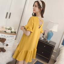 Nightdress Other / other 160(M),165(L),170(XL),175(XXL) Sweet Short sleeve Leisure home Middle-skirt summer Solid color youth Crew neck cotton Lotus leaf edge More than 95% pure cotton 200g and below