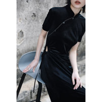 Dress Spring 2021 black Small, large longuette singleton  Short sleeve commute stand collar High waist Solid color Three buttons A-line skirt routine Others 18-24 years old Type A Big dragon shop Retro Hole, tuck, fold, lace, button, zipper, metal lace QL210128295 More than 95% other polyester fiber