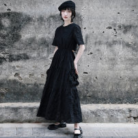 Dress Spring 2021 black Small, large longuette singleton  Short sleeve commute Crew neck High waist Solid color Socket Cake skirt other Others 18-24 years old Type A Big dragon shop Retro More than 95% other cotton