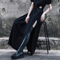 Casual pants black Average size Spring 2021 trousers Wide leg pants Natural waist Versatile routine 18-24 years old 51% (inclusive) - 70% (inclusive) Big dragon shop hemp Three dimensional cutting hemp