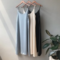 Dress Summer 2020 Black, apricot, blue M, L Mid length dress singleton  Sleeveless commute Crew neck Loose waist Solid color A-line skirt camisole 25-29 years old Type A Simplicity