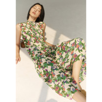 Dress Spring 2021 Pomegranate flower in stock, pomegranate flower pre-sale May 13 S,M,L,XL Mid length dress singleton  Sleeveless commute Crew neck Decor Single breasted routine 30-34 years old Type H Insect TE1XLY037 More than 95% other silk