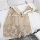 Dress Spring 2021 White, black, apricot Average size Mid length dress singleton  Sleeveless commute Crew neck High waist Solid color A-line skirt other Type A Korean version Embroidery, lace