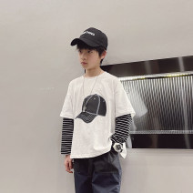 T-shirt White, black, white reservation, black reservation Other / other 110cm / 110, 120cm / 120, 130cm / 130, 140cm / 140, 150cm / 150, 160cm / 160, 170cm / 170 male spring and autumn Long sleeves Crew neck Korean version There are models in the real shooting nothing cotton printing --