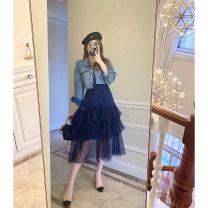 Fashion suit Spring 2021 S,M,L Blue, blue denim jacket, blue suspender skirt 25-35 years old T4061