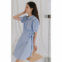 Dress Summer 2020 Black, blue, purple S,M,L Mid length dress singleton  Short sleeve commute other High waist Solid color Socket other other Others 18-24 years old Type A LOVEHEYNEW Korean version Yde54o-7027 skew dress other other