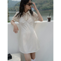 Dress Summer 2021 Apricot S, M Middle-skirt singleton  commute High waist Solid color 18-24 years old Type A LOVEHEYNEW Korean version E07q-y9026 afternoon tea dress
