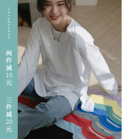 T-shirt Black, lemon yellow, tomato red, milk white, ocean blue, taro purple, baby blue, lake green, iron gray S,M,L Spring 2021 Long sleeves Crew neck easy Regular routine commute cotton 71% (inclusive) - 85% (inclusive) 18-24 years old Korean version other LOVEHEYNEW