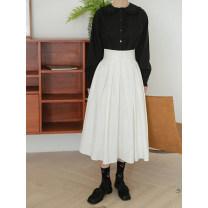 skirt Spring 2021 S, M Black, white Mid length dress commute High waist Pleated skirt Type A 18-24 years old e18N - 6980 buckled court bubble skirt LOVEHEYNEW Korean version