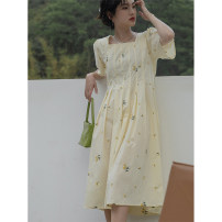 Dress Summer 2021 yellow S,M,L Mid length dress singleton  commute High waist Solid color 18-24 years old Type A LOVEHEYNEW Korean version Xce85v-9406 story yellow flower skirt