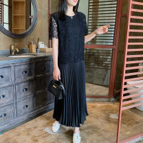 Dress Summer 2021 Black (stock) S,M,L,XL,2XL,3XL longuette Fake two pieces Short sleeve Loose waist Pleated skirt routine Others Hyyzqyp / Han Yiye Zhiqiu clothing shop HYYZQYP0321-5