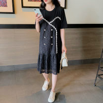 Dress Summer 2021 Black (pre-sale) S,M,L,XL,2XL,3XL Mid length dress singleton  Short sleeve commute Crew neck Loose waist Decor Single breasted Ruffle Skirt routine Others 25-29 years old Type H Hyyzqyp / Han Yiye Zhiqiu clothing shop